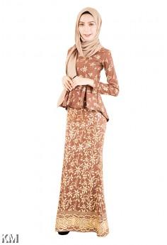 Sangria Hi-Low Peplum Baju Kurung Songket [M12226]