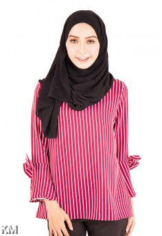 Vertical Striped Muslimah Blouse [M12216]