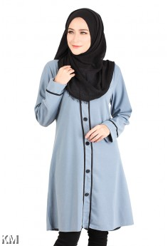Button Embellished Long Top [M14225]