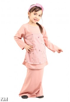 Kids Cotton Lace Baju Kurung [M12283]