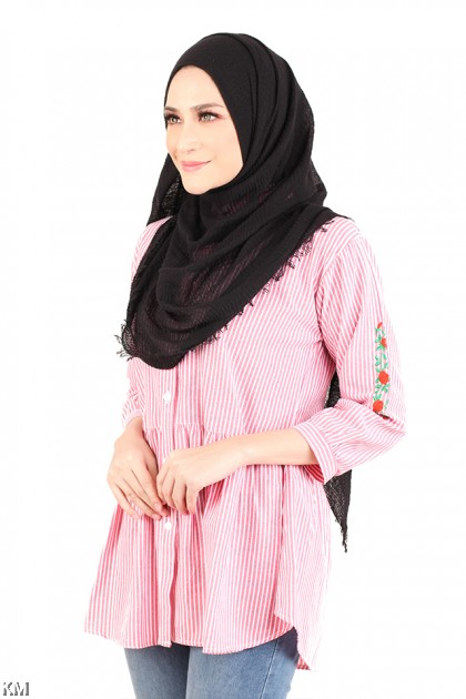 Mini Roses Embroidered Shirt [M2940]