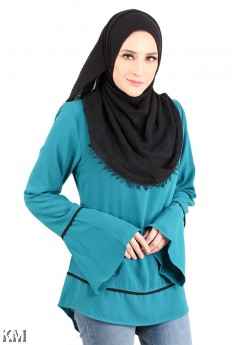 Solid Back Zip Muslimah Blouse [M12321]