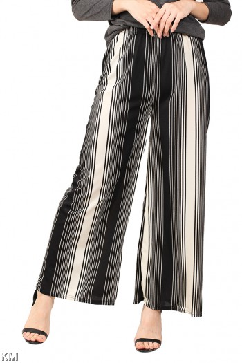 Black And White Striped Culottes [M14043]