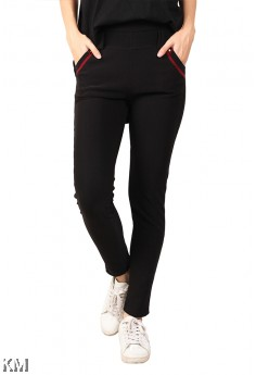 Black Elastic Trousers [M12275]