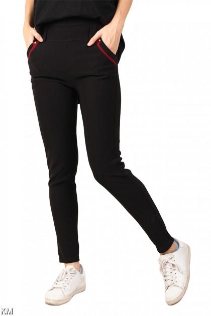 Black Elastic Trousers [M12275]