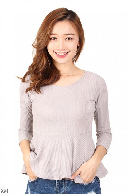 Long Sleeves Peplum Knit Top [M12148]