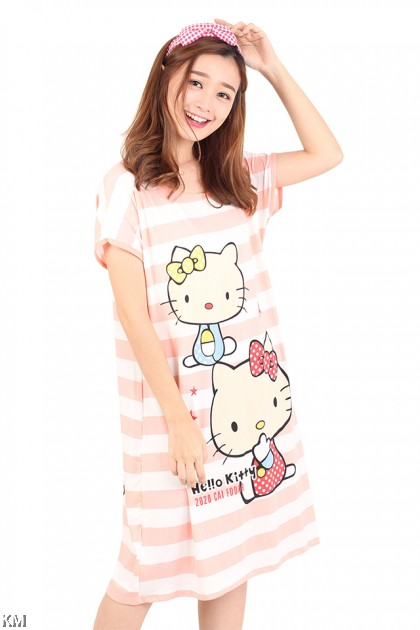 Hello Kitty Striped Sleep Dress [M1163]