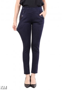 Women Self Pattern Elastic Trouser [M11057]