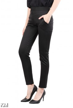 Women Black Elastic Trouser [M12147]