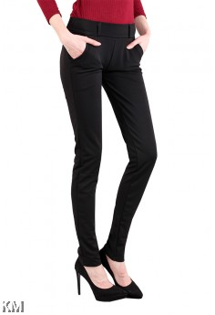 Plus Size Women Elastic Black Pants [M13320]