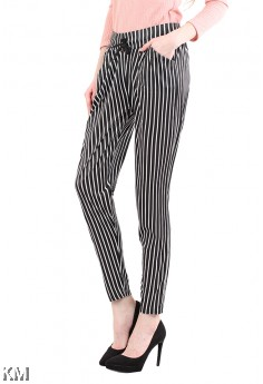 Women Striped Drawstring Pants [M13563]