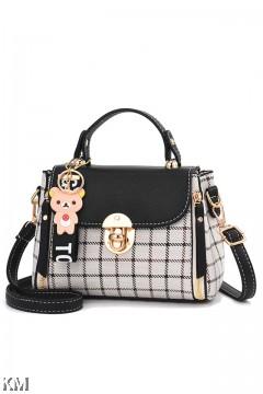 Rila Bear Checkered Luxury Handbag [M1914]