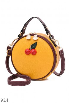 Cherry Round Shoulder Sling Bag With Handle [M1919]