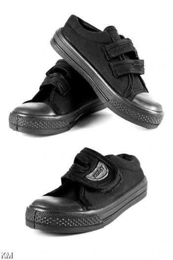 Children Black Velcro Strap School Shoe [M16034]