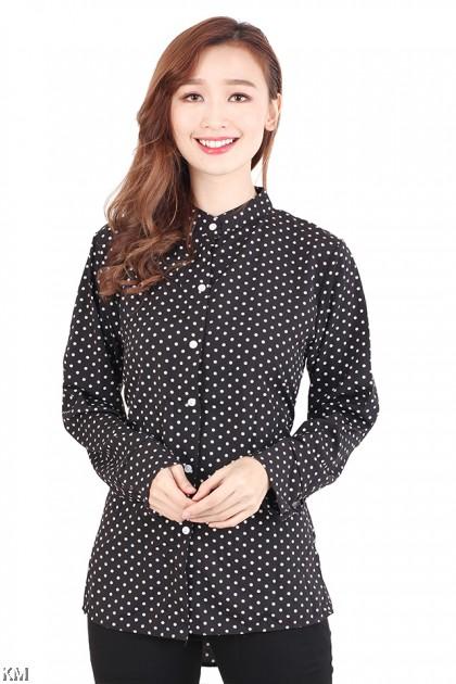 Dotted Mandarin Collar Blouse [M717]