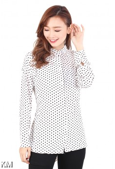 Dotted Mandarin Collar Blouse [M717]