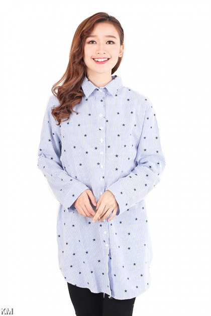 Star Printed Plus Size Long Blouse [M2560]