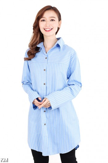 Striped Plus Size Blouse [M2563]