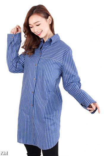 Striped Plus Size Blouse [M2563]