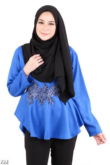 KM Solid Embroidered Back Ribbon Blouse [M713]
