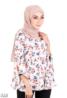 KM Floral Printed Back Ribbon Blouse [M718]