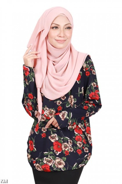 f3e86e54a91dc4 ... Muslimah Casual Fully Printed Top [B15795]