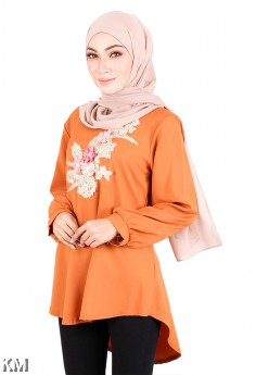 Muslimah Hi Low Embroidered Blouse [M20569]