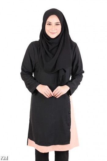 Muslimah Side Button Layered Top [M20571]