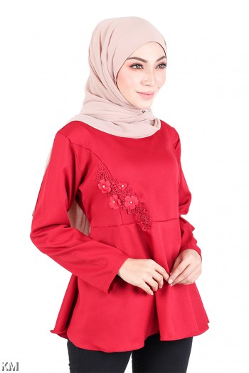 Muslimah Embroidered Solid Peplum Top [M719]