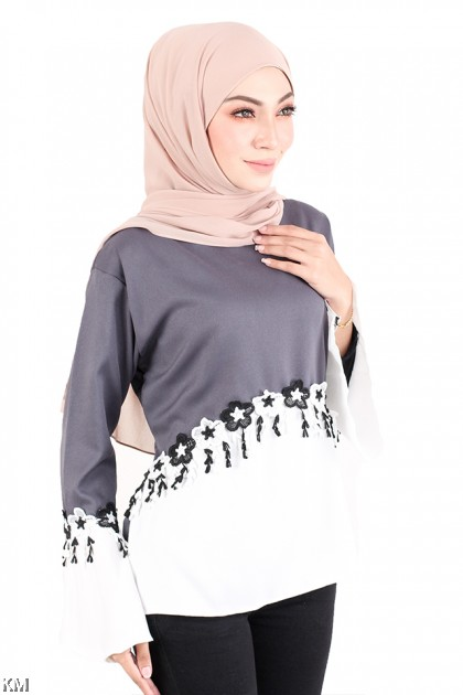Classy Embroidered Muslimah Blouse [M723]