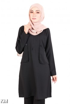 Classy Button Muslimah Blouse [M20584]