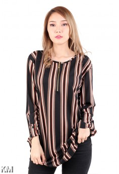 Muslimah Stripes Front Zip Plus Size [M16162]