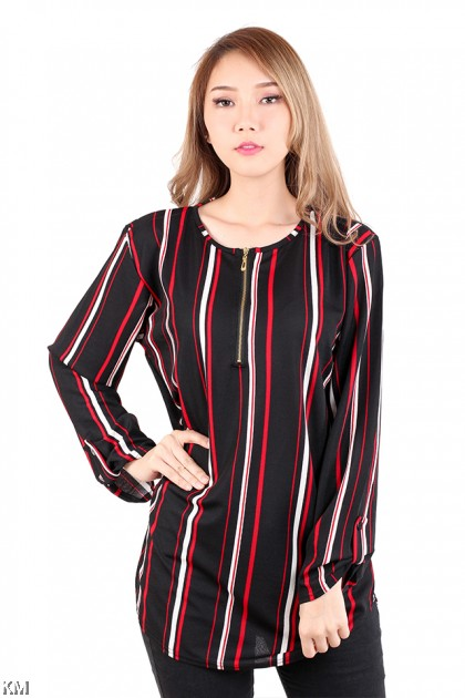Muslimah Stripes Front Zip Plus Size [M16162]