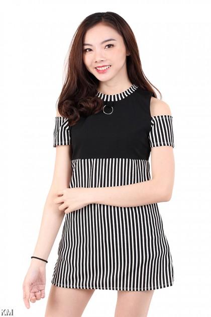 Cold Shoulder Striped Mini Dress [M673]