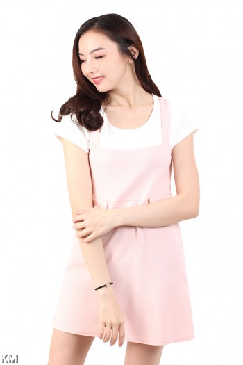 Short Sleeves Solid Mini Dress [M677]