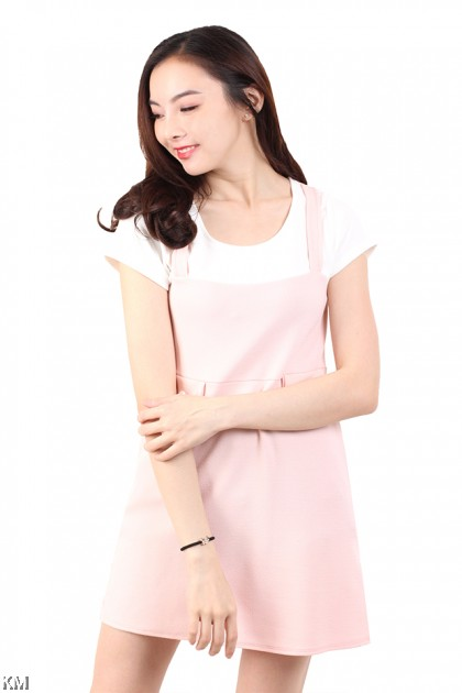 Short Sleeves Solid Mini Dress [M677]