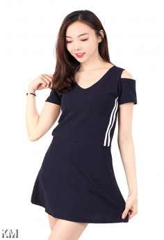 V Neck Cold Shoulder Mini Dress [M678]