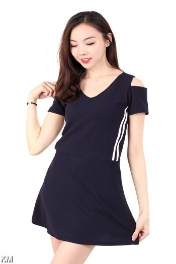 V Neck Cold Shoulder Mini Dress [M678]