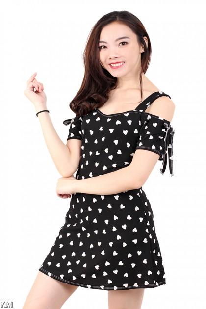 Cold Shoulder Ribbon Mini Dress [M680]
