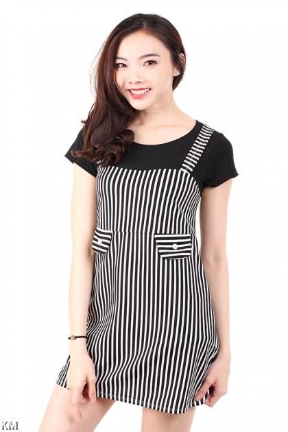 Short Sleeves Striped Mini Dress [M687]