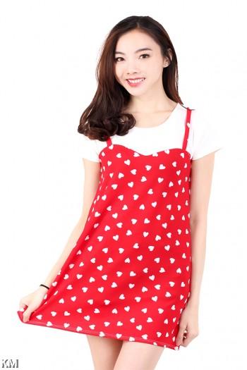 Short Sleeves Fully Printed Mini Dress [M688]