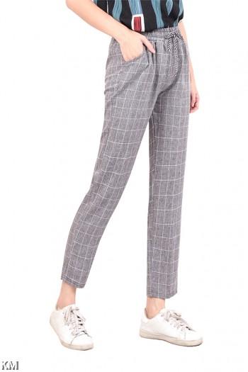 Elastic Regular Fit Checked Pants [M16475]