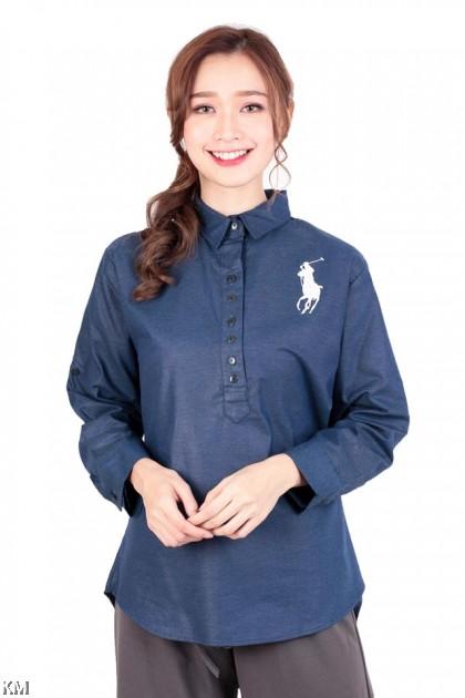 Muslimah Blue Denim Long Shirt [M266]