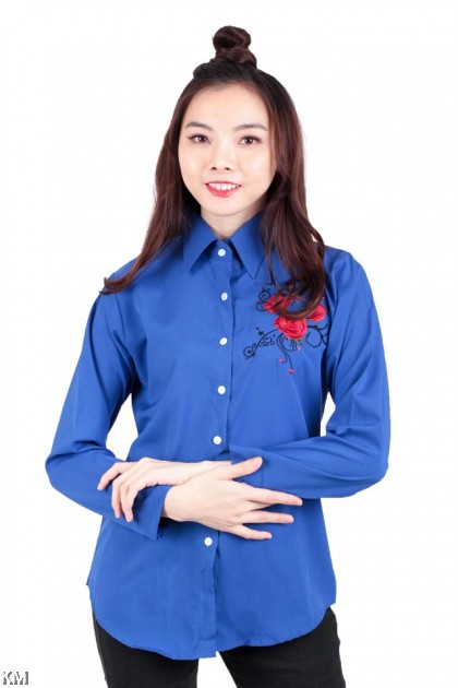 Solid Roses Embroidered Shirt [M171]
