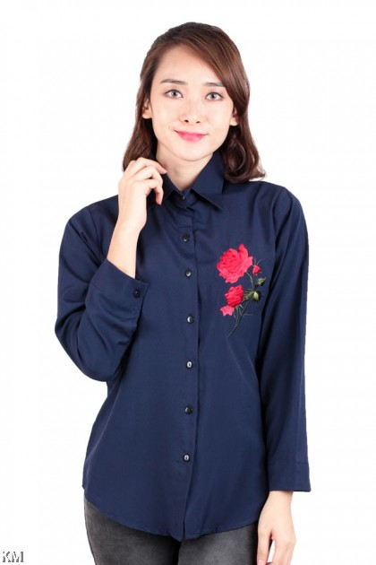 Floral Leafy Embroidery Shirt [M172]