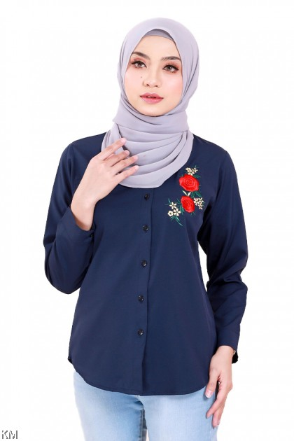 Accent Roses Embroidery Shirt [B173]