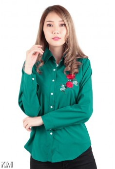 Accent Roses Embroidery Shirt [M173]