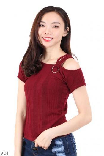 Half Shoulder Knitted Top [M16384]