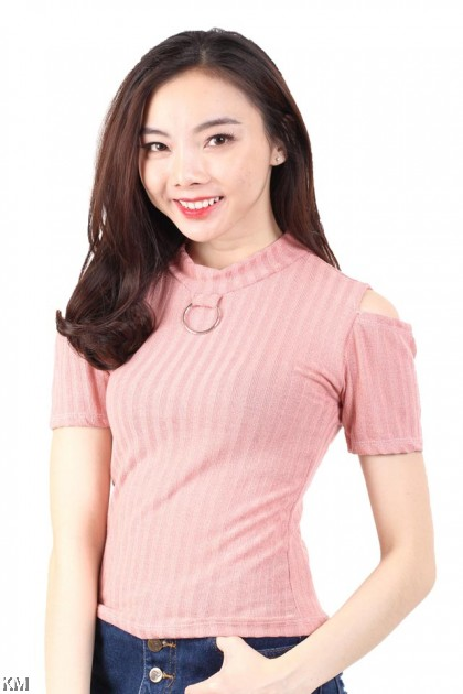Highneck Cold Shoulder Top [M16385]