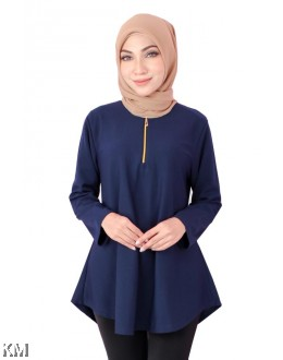 Ladies Exclusive Front Zipper Solid Blouse [B18516]